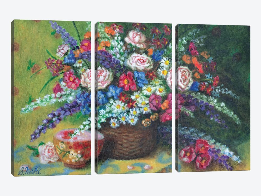 Bouquet In Basket by Sam Nishi 3-piece Canvas Art Print