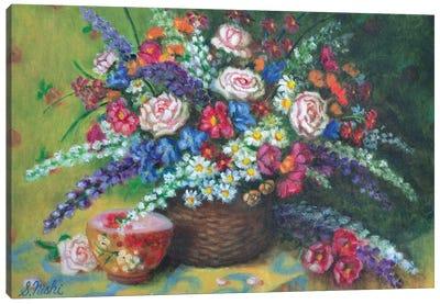 Bouquet In Basket Canvas Art Print