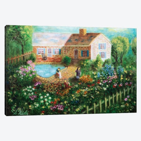Cottage With Pond Canvas Print #NHI7} by Sam Nishi Canvas Artwork