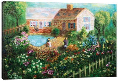 Cottage With Pond Canvas Art Print