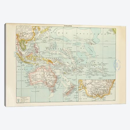 A Map Of The World's Oceans Canvas Print #NHM35} by Natural History Museum (UK) Canvas Artwork