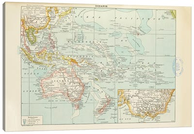 A Map Of The World's Oceans Canvas Art Print
