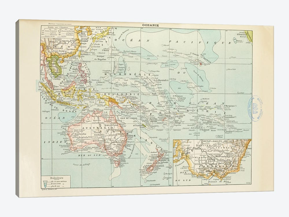 A Map Of The World's Oceans by Natural History Museum (UK) 1-piece Canvas Art Print