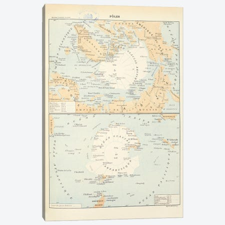 Maps Of The North And South Poles. Both Maps Include All The Names And Dates Of Polar Explorers Up Until The 1850S Canvas Print #NHM411} by Natural History Museum (UK) Canvas Art