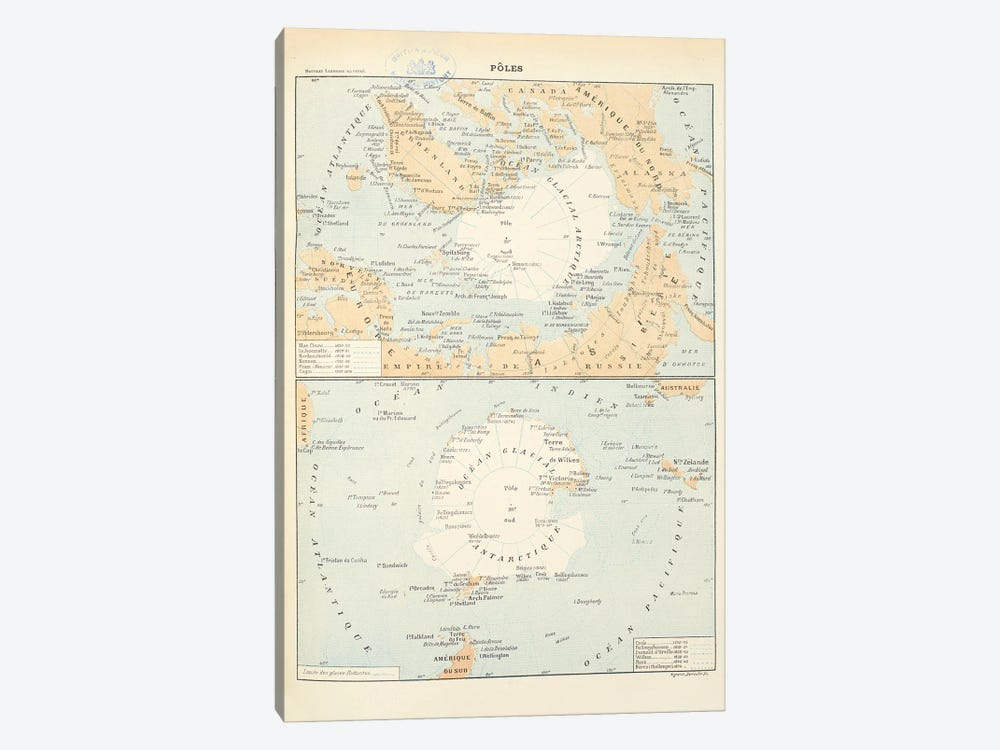 Maps Of The North And South Poles. Both Maps Include All The Names And Dates Of Polar Explorers Up Until The 1850S by Natural History Museum (UK) 1-piece Canvas Print