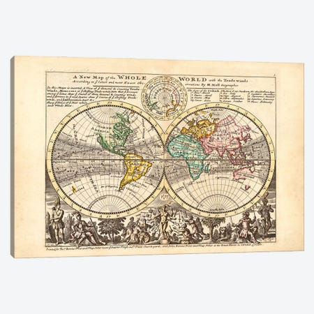 Rare Historical World Map By H Moll, Geographer Canvas Print #NHM562} by Natural History Museum (UK) Canvas Art