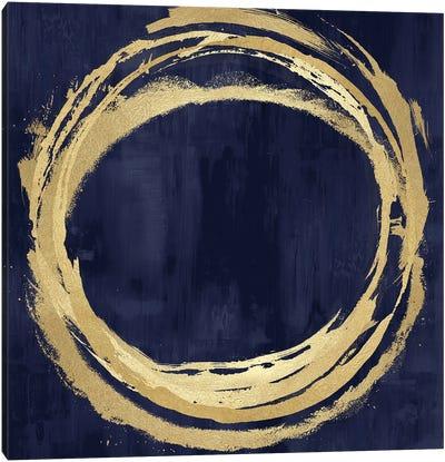 Circle Gold On Blue II Canvas Art Print