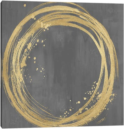 Circle Gold On Gray I Canvas Art Print