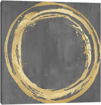Circle Gold On Gray II Canvas Art Print