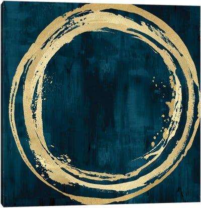 Circle Gold On Teal I Canvas Art Print