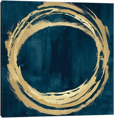 Circle Gold On Teal II Canvas Art Print