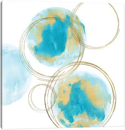 Circular Aqua And Gold I Canvas Art Print