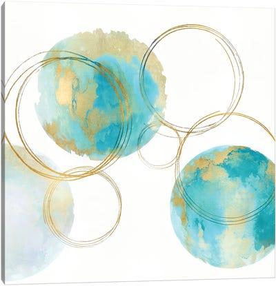 Circular Aqua And Gold II Canvas Art Print