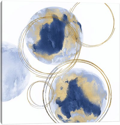 Circular Blue And Gold I Canvas Art Print