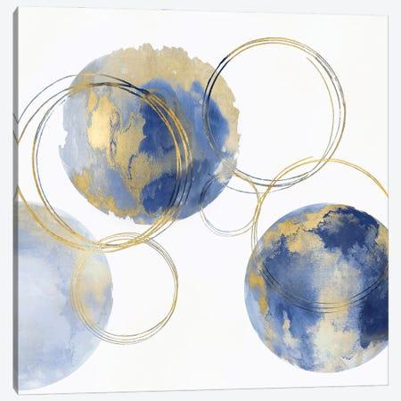 Circular Blue And Gold II Canvas Print #NHS26} by Natalie Harris Art Print