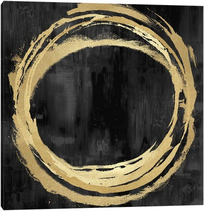 Circle Gold On Black II Canvas Art Print