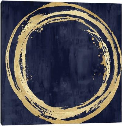 Circle Gold On Blue I Canvas Art Print