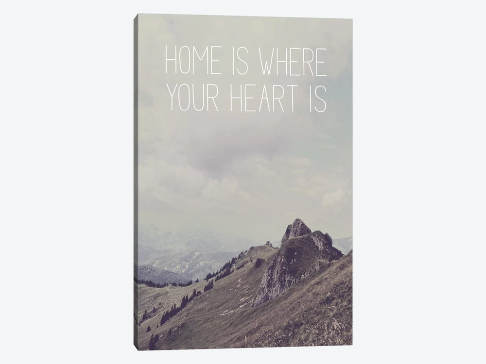 Typographic Quotes 1  Home is where your Heart is by Joe Mania 1-piece Canvas Wall Art