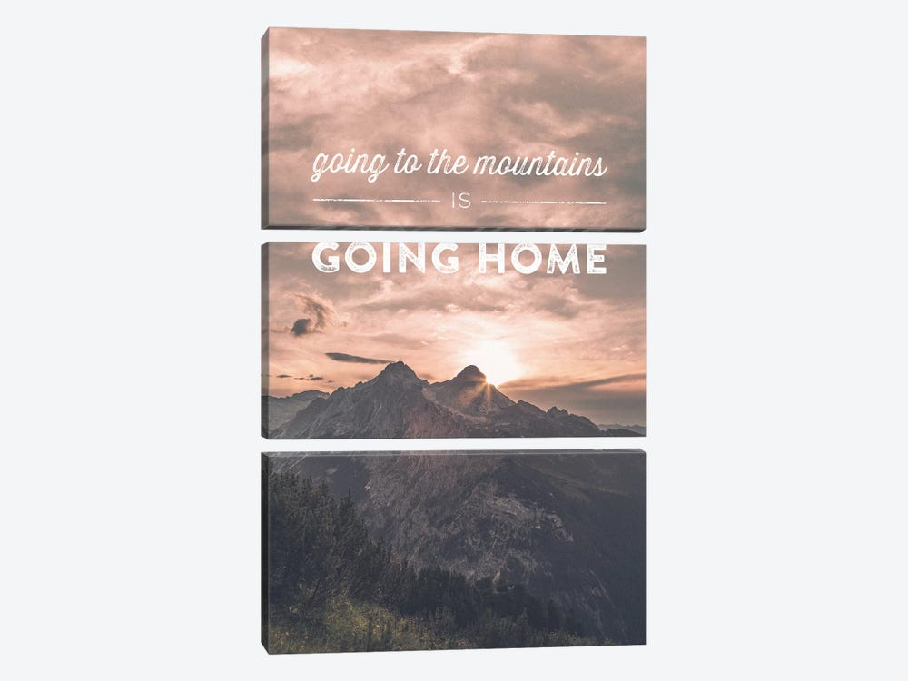 Typographic Quotes 2  Going to the Mountains is going Home by Joe Mania 3-piece Canvas Wall Art