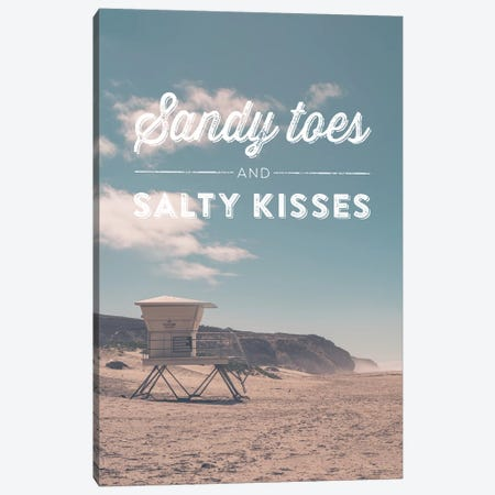Typographic Quotes 2  Sandy Toes and Salty Kisses Canvas Print #NIA109} by Joe Mania Canvas Art