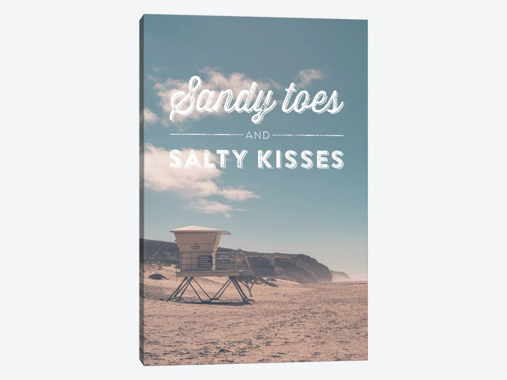 Typographic Quotes 2  Sandy Toes and Salty Kisses by Joe Mania 1-piece Canvas Wall Art