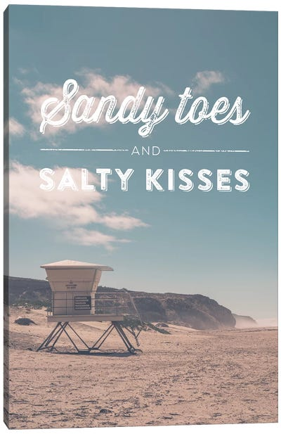 Typographic Quotes 2  Sandy Toes and Salty Kisses Canvas Art Print