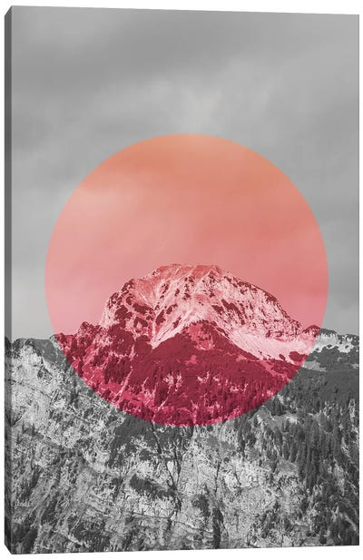 Landscapes Circular 2  Chacaltaya (Pink Circle) Canvas Art Print