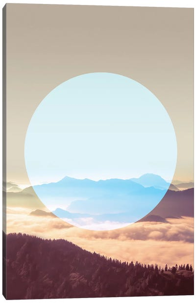 Landscapes Circular 1  Alps (Blue Circle) Canvas Art Print