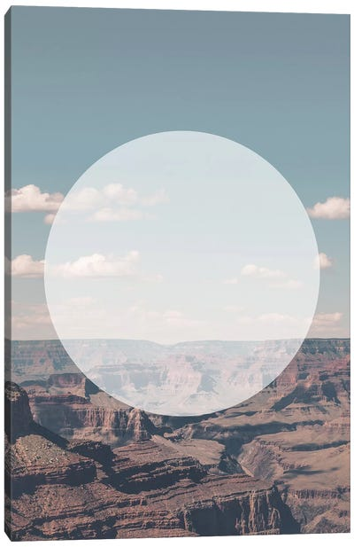 Landscapes Circular 1  Grand Canyon (White Circle) Canvas Art Print