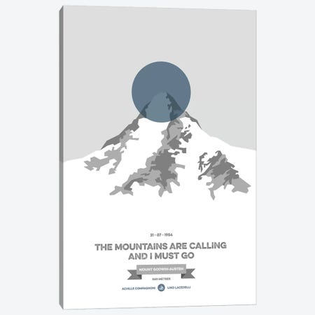Mountains Illustrated K2 (Blue Circle) Canvas Print #NIA73} by Joe Mania Canvas Art