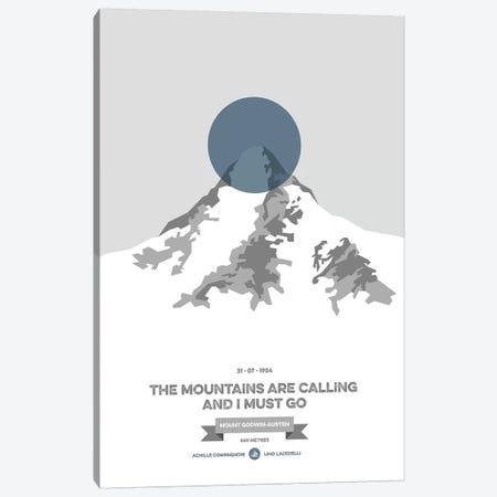 Mountains Illustrated K2 (Blue Circle) Canvas Print #NIA73} by Joe Mania Canvas Art