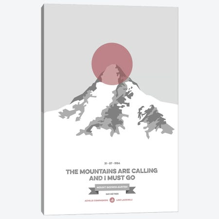 Mountains Illustrated K2 (Coral Circle) Canvas Print #NIA74} by Joe Mania Art Print