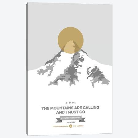 Mountains Illustrated K2 (Gold Circle) Canvas Print #NIA75} by Joe Mania Canvas Print
