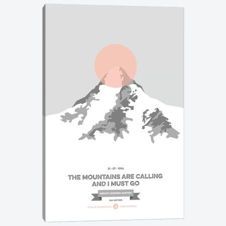Mountains Illustrated K2 (Peach Circle) Canvas Print #NIA76} by Joe Mania Art Print