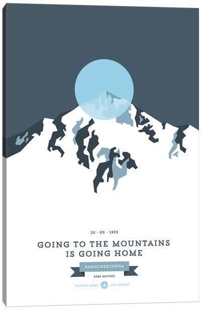 Mountains Illustrated Kangchenjunga (Blue Circle) Canvas Art Print