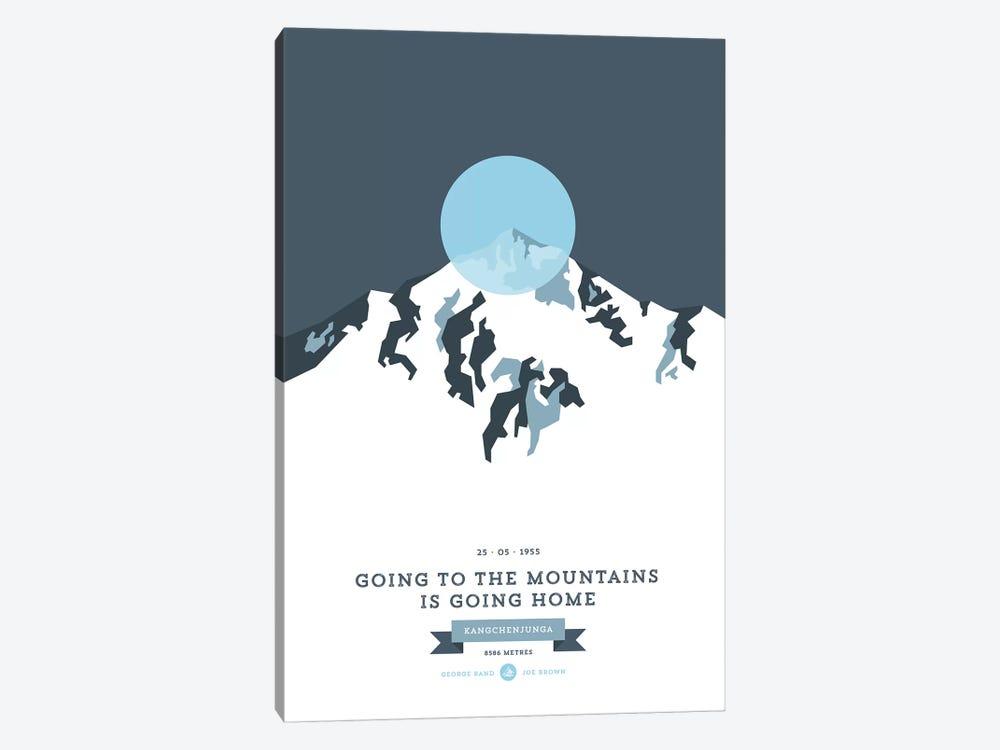 Mountains Illustrated Kangchenjunga (Blue Circle) by Joe Mania 1-piece Canvas Artwork