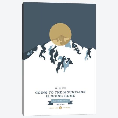 Mountains Illustrated Kangchenjunga (Gold Circle) Canvas Print #NIA79} by Joe Mania Canvas Artwork