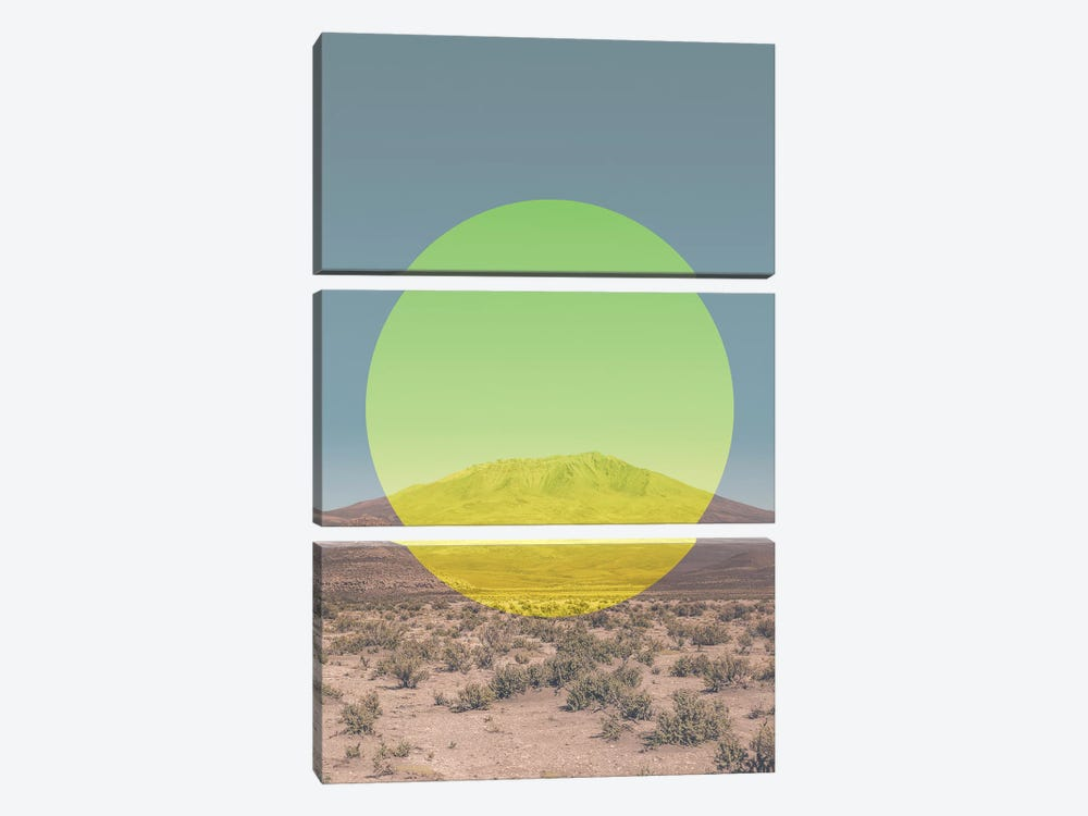 Landscapes Circular 1  Salar de Uyuni (Yellow Circle) by Joe Mania 3-piece Canvas Art
