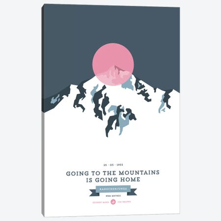 Mountains Illustrated Kangchenjunga (Pink Circle) Canvas Print #NIA80} by Joe Mania Art Print