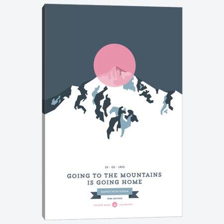 Mountains Illustrated Kangchenjunga (Pink Circle) Canvas Print #NIA80} by Joe Mania Art Print