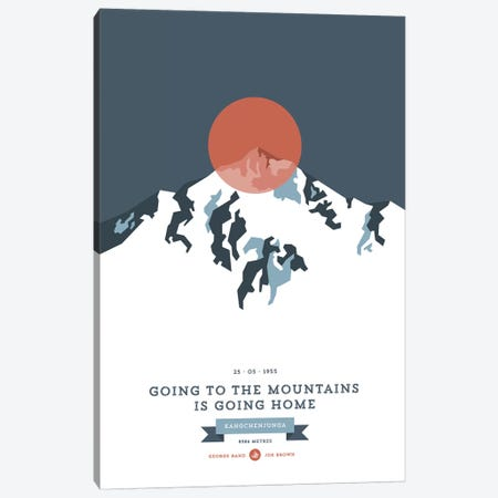 Mountains Illustrated Kangchenjunga (Rust Circle) Canvas Print #NIA81} by Joe Mania Canvas Print