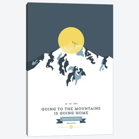 Mountains Illustrated Kangchenjunga (Yellow Circle) Canvas Print #NIA82} by Joe Mania Canvas Art Print