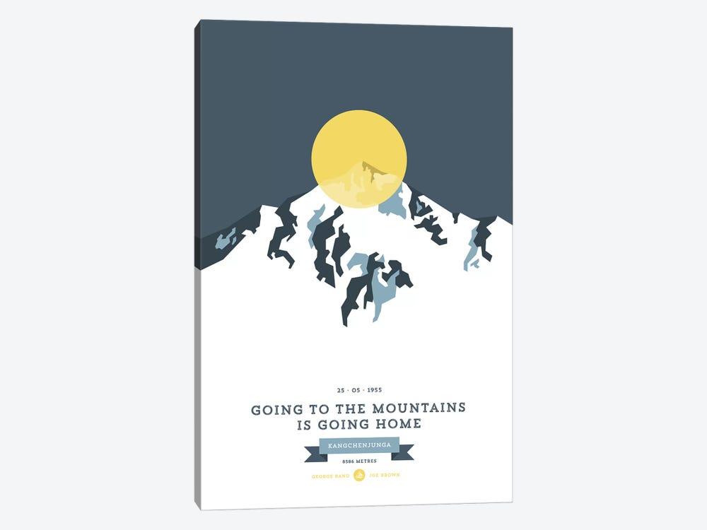 Mountains Illustrated Kangchenjunga (Yellow Circle) by Joe Mania 1-piece Canvas Print