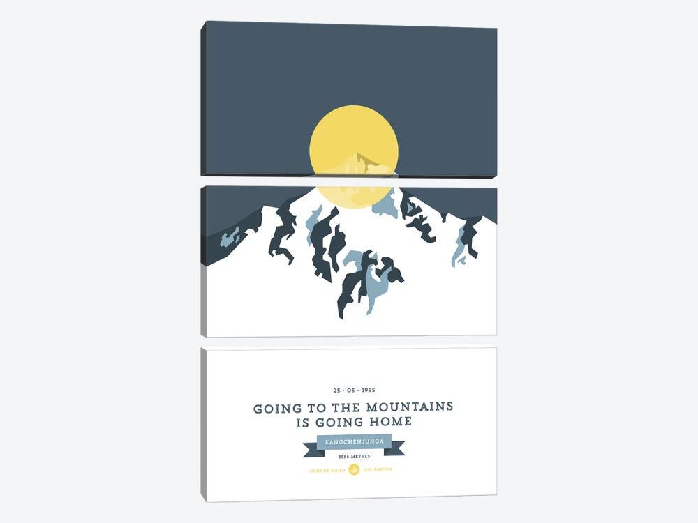 Mountains Illustrated Kangchenjunga (Yellow Circle) by Joe Mania 3-piece Canvas Print