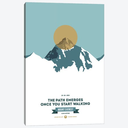 Mountains Illustrated Mount Everest (Gold Circle) (Screen Print) Canvas Print #NIA83} by Joe Mania Canvas Art Print