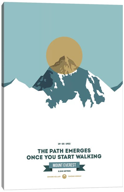 Mountains Illustrated Mount Everest (Gold Circle) (Screen Print) Canvas Art Print