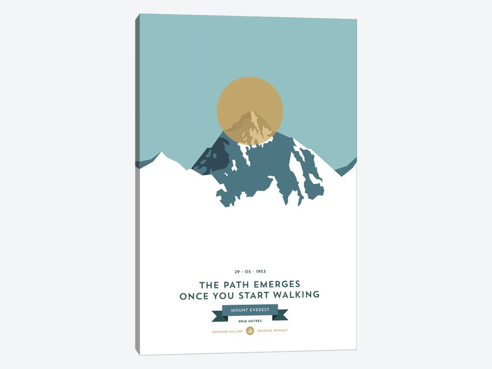 Mountains Illustrated Mount Everest (Gold Circle) by Joe Mania 1-piece Art Print