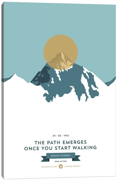 Mountains Illustrated Mount Everest (Gold Circle) Canvas Art Print