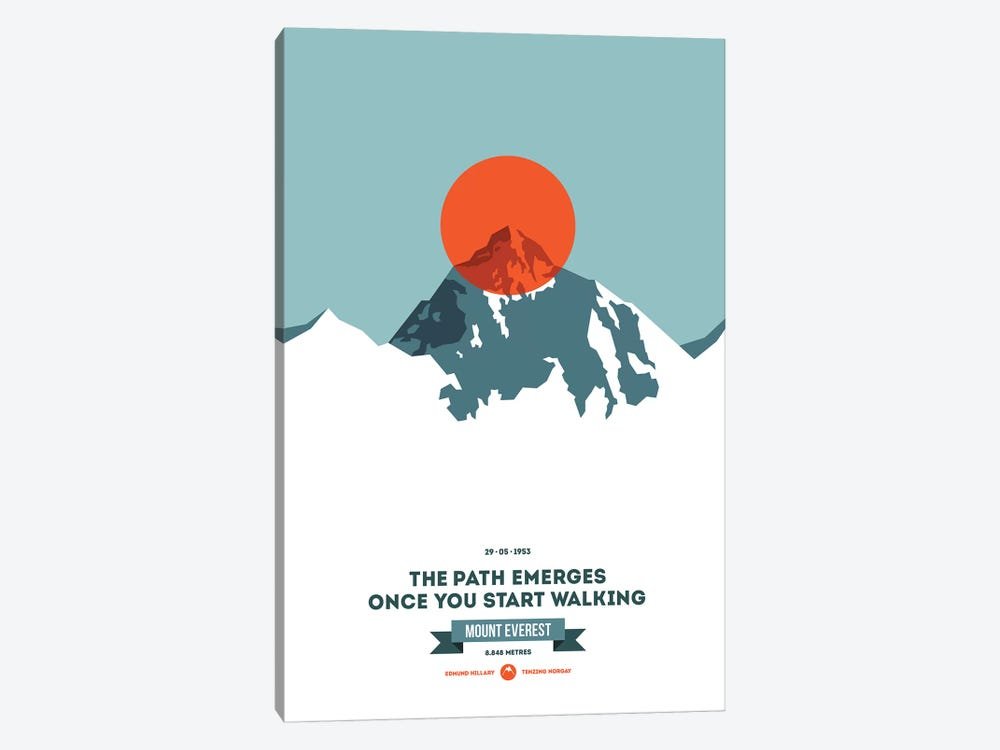 Mountains Illustrated Mount Everest (Neon Orange Circle) (Screen Print) by Joe Mania 1-piece Canvas Artwork