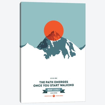 Mountains Illustrated Mount Everest (Neon Orange Circle) (Screen Print) Canvas Print #NIA85} by Joe Mania Canvas Art